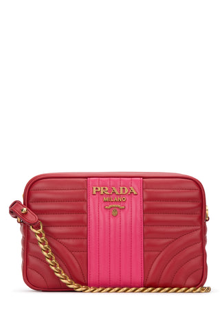 Prada Diagramme Quilted Two-Tone Crossbody Bag