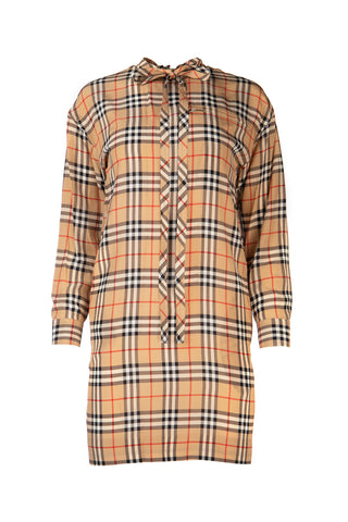 Burberry Vintage Check Neck Tie Dress