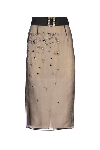 Prada Crystal Embellished Belted Midi Skirt
