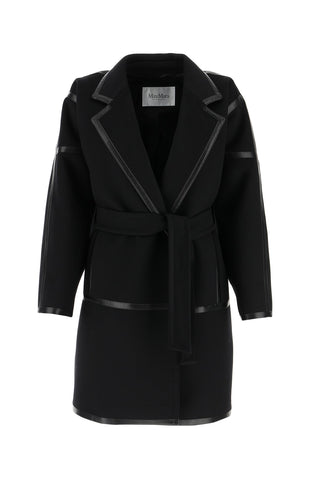 Max Mara Belted Leather Trimmed Coat