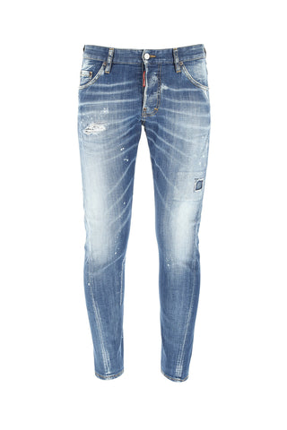 Dsquared2 Distressed Low Rise Skinny Fit Jeans