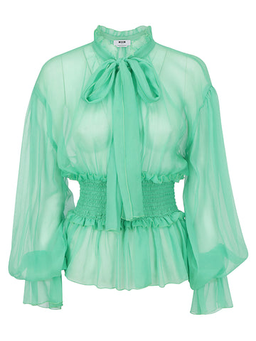 MSGM Pussy Bow Ruffled Blouse