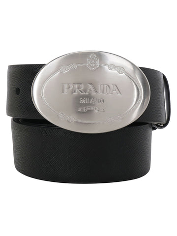 Prada Engraved Logo Buckle Belt