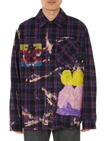 Off-White Embroidered Motif Plaid Shirt