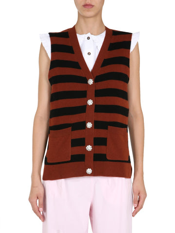 Ganni Striped Knitted Vest