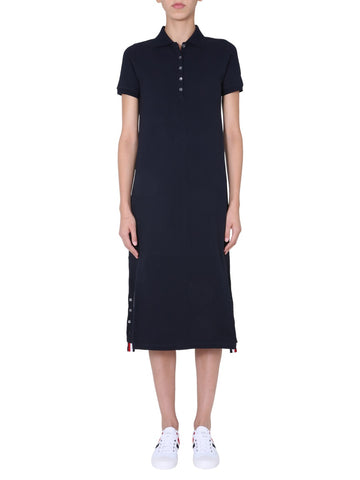 Thom Browne Stripe Detailed Polo Shirt Dress