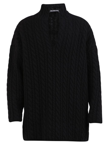 Balenciaga V-Neck Cable Knit Pullover