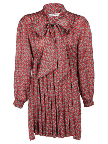 Balenciaga Paisley Print Pleated Scarf Neck Dress