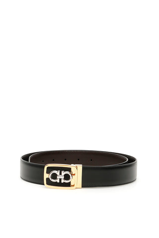 Salvatore Ferragamo Double Gancio Framed Buckle Belt