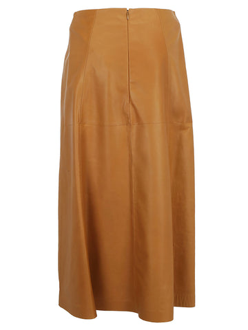 Salvatore Ferragamo A-Line Leather Skirt