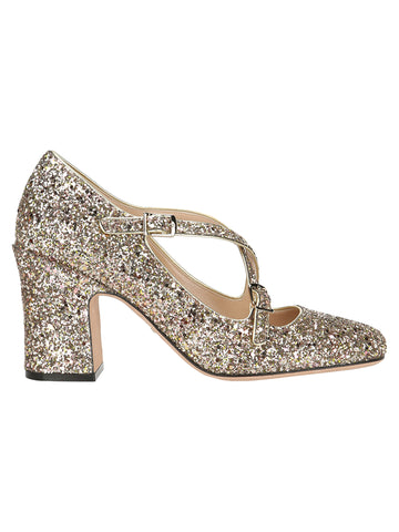 Dior Block Heel Glitter Pumps