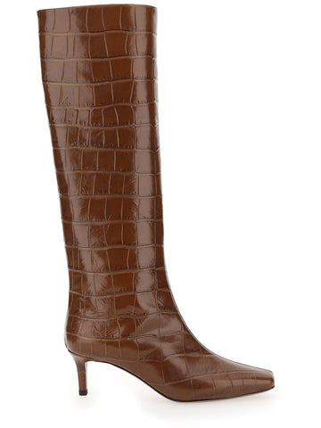 L'Autre Chose Embossed Square Toe Boots