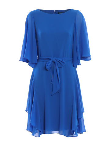 Ralph Lauren Tie-Waist Ruffled Dress