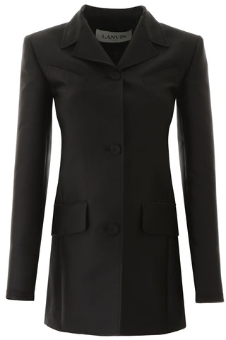 Lanvin Satin Effect Waisted Tailored Jacket