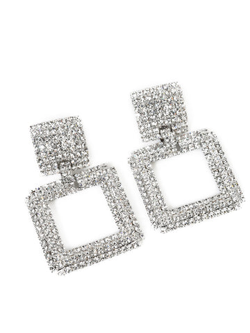 Alessandra Rich Square Clip On Earrings