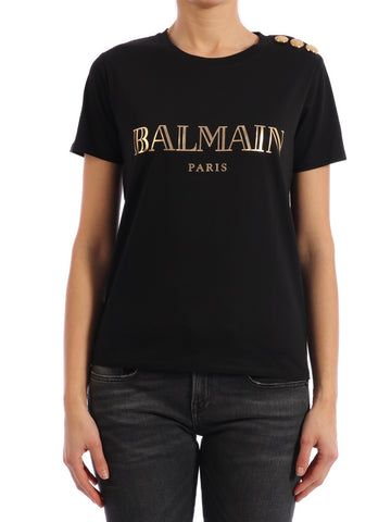 Balmain Logo Button Detail T-Shirt