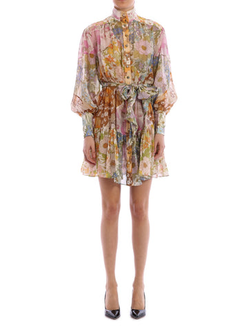 Zimmermann Super Eight Lantern Mini Mixed Floral Dress
