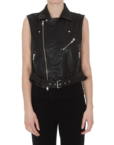 Bully Zipped Leather Gilet