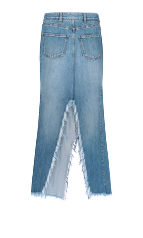 Givenchy Frayed Split Denim Skirt
