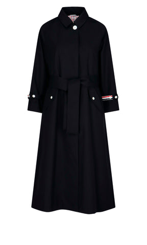 Thom Browne RWB Stripe Belted Trench Coat