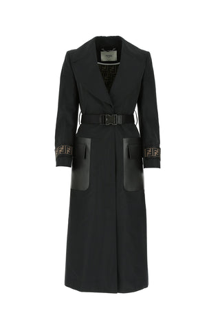 Fendi FF Logo Motif Belted Single Breasted Trench Coat