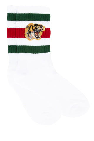 Gucci Vintage Web Tiger Embroidered Socks