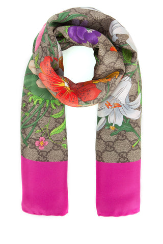 Gucci GG Floral Print Scarf