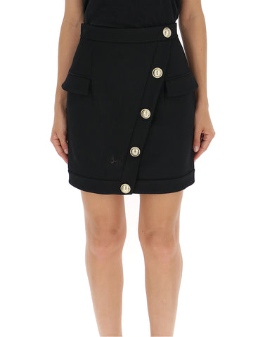Balmain Asymmetric Button Detail Mini Skirt
