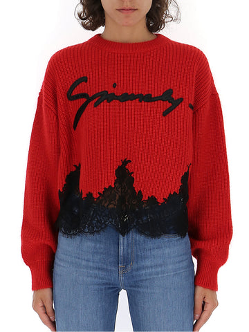 Givenchy Lace Trim Knitted Sweater