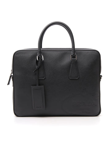 Prada Logo Plaque Laptop Bag