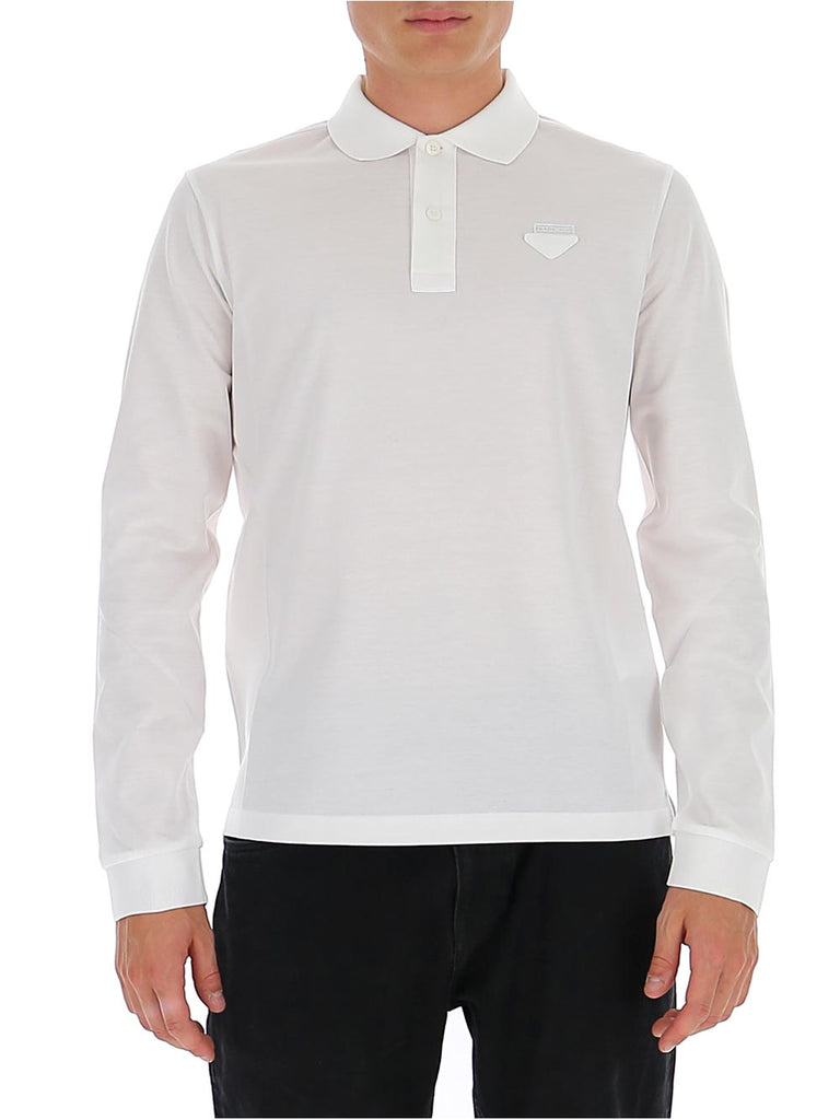 Prada Logo Slim-Fit Long-Sleeve Polo Shirt