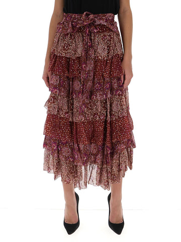 Ulla Johnson Fayanna Floral Print Pleated Midi Skirt