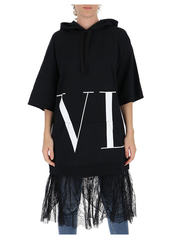 Valentino VLTN Lace Trim Hoodie Dress