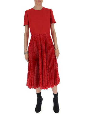 Valentino Pleated Lace Short Sleeve Midi Dress