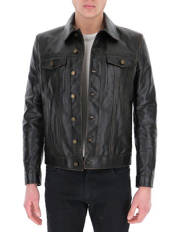 Saint Laurent Single-Breasted Leather Jacket