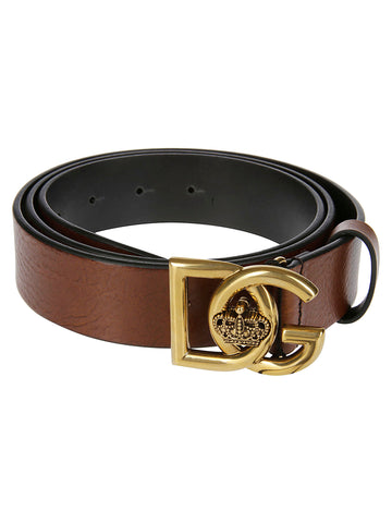 Dolce & Gabbana Logo Bucket Crown Belt