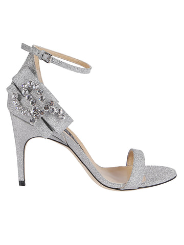 Sergio Rossi Jewel Embellished Glitter Sandals