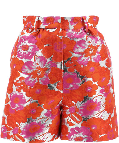 MSGM Floral Jacquard High-Waisted Shorts