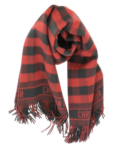 Dior Checked Fringed Scarf