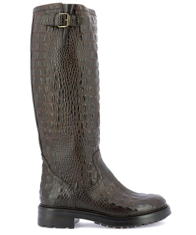 Strategia Embossed Knee-Length Boots
