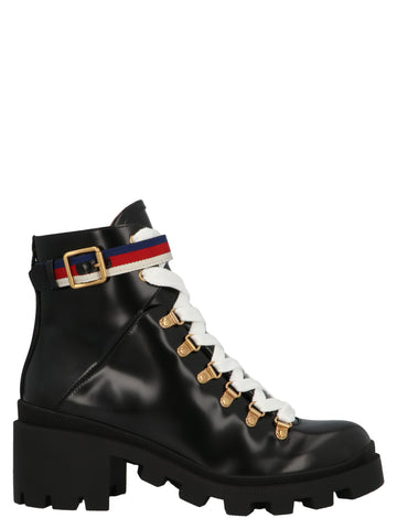 Gucci Sylvie Web Lace-Up Boots