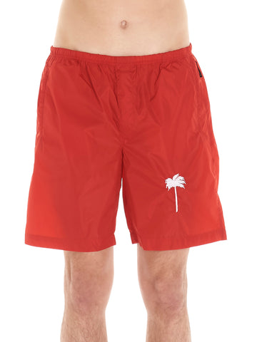 Palm Angels Embroidered Palm Tree Swim Shorts