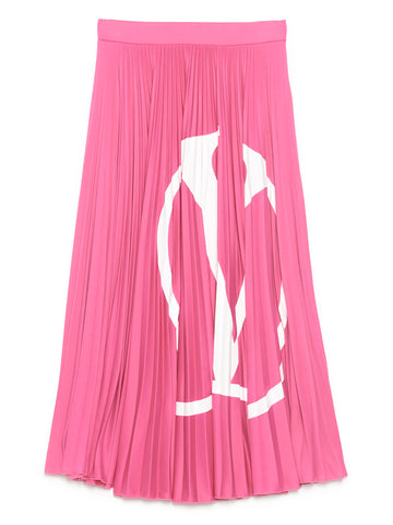 Valentino Logo Pleated Midi Skirt