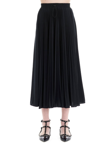 Valentino Logo Star Pleated MidiSkirt