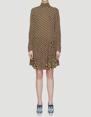 Prada Printed Long Sleeve Dress