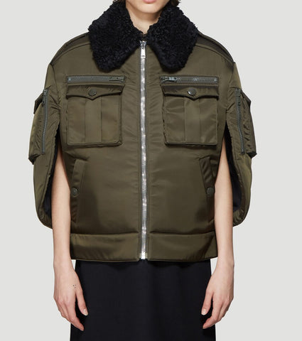 Prada Shearling Collar Cape Jacket