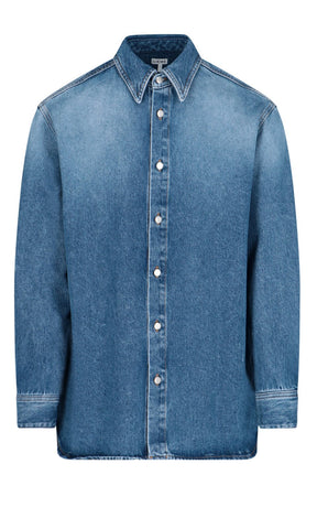 Loewe Logo Embroidered Denim Shirt