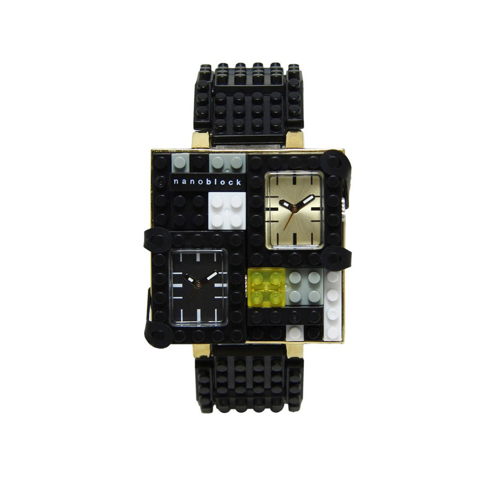 Nanoblocktime Traveler Metal Watch - Black and Gold