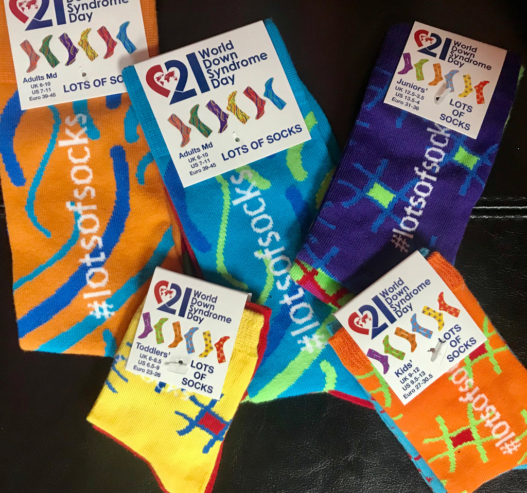 Awareness Socks for Down Syndrome  -  Adult Size 7 - 11