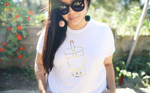 Boba Milk Tea Shirt - Gold Foil